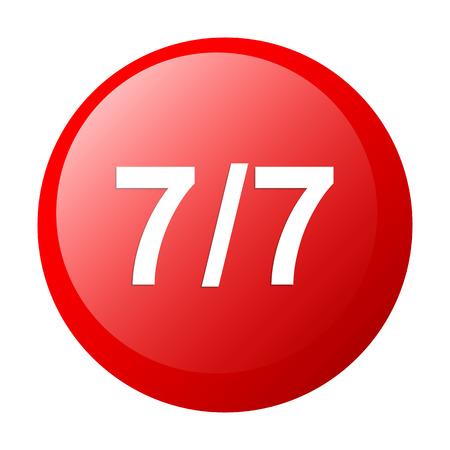 expulsion: bouton internet seven through seven 7 7 icon red Illustration