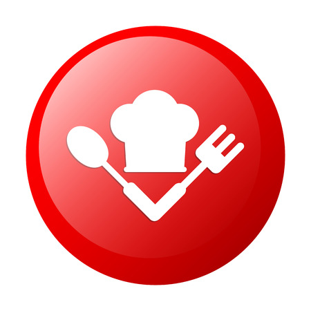bouton internet cuisine icon red white background Vector
