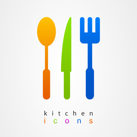 Kitchenware icon sign fork knife spoon Vector