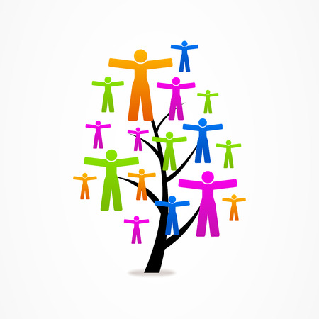 icon business abstract tree eco people Vector