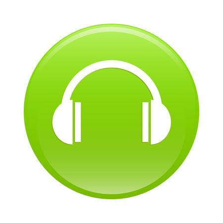 bouton internet earphone icon green web Vector