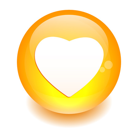 coeur: bouton internet coeur sign icon orange Illustration