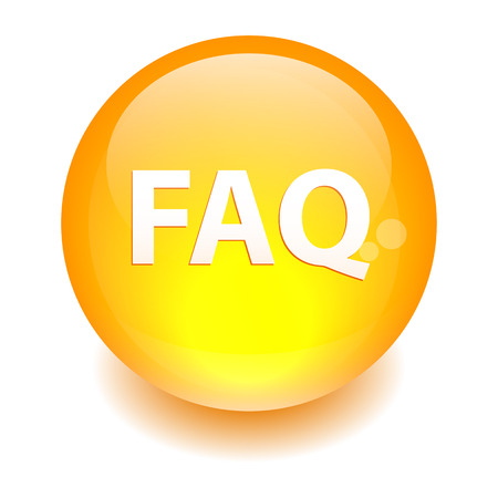 bouton internet question FAQ icon orange Illustration