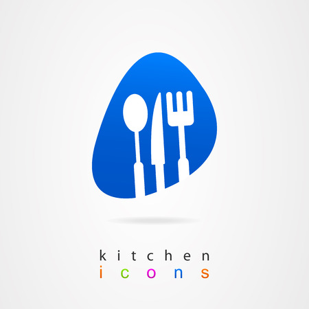 Kitchenware fork knife spoon web Vector