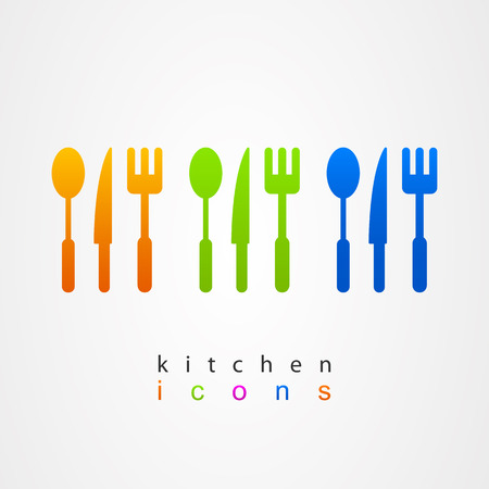 Kitchenware icon fork knife spoon menu web Vector