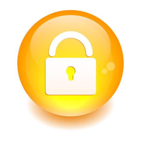 Button online security icon orange Vector