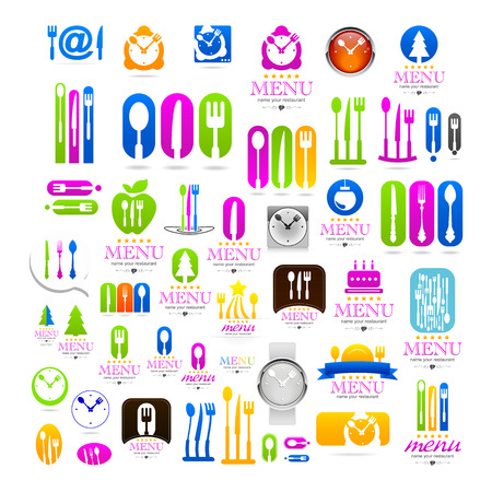 Kitchen set business sign web icons Vector