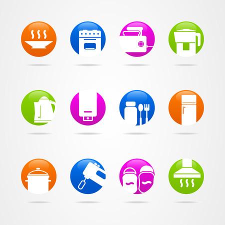 cookware: Cocina de dise�o bot�n de icono de los utensilios de cocina