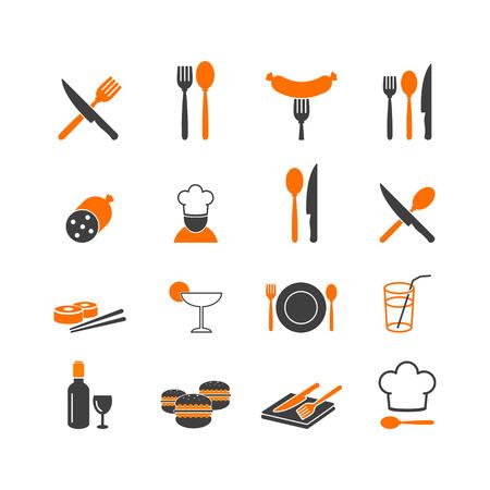 Restaurant food kitchenware icons button