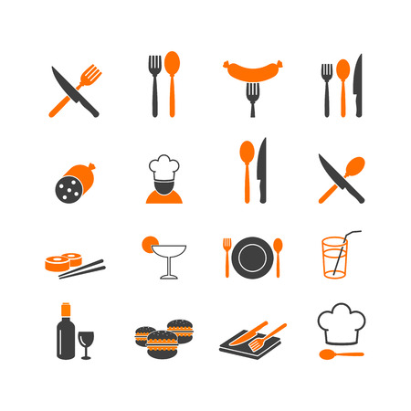 Restaurant food kitchenware icons button Vector