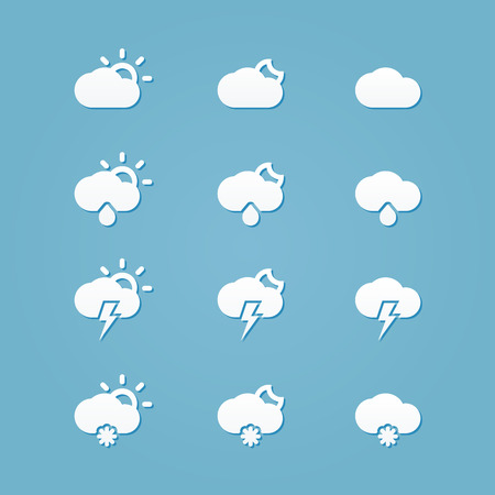 thunderstorms: Meteo icons weather cloud button Illustration