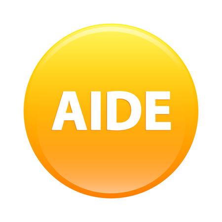 aide: Bouton internet aide icon orange sign