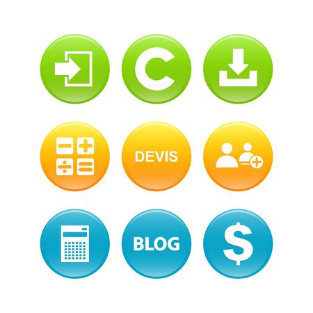 connexion: Set of 3d buttons internet business Illustration