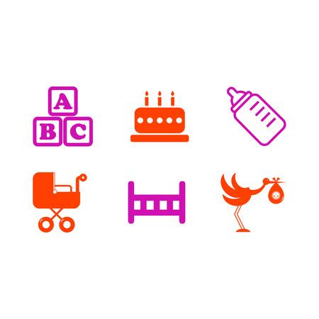 gateau: pulsante impostato icona bambino