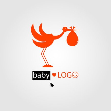 gracious: baby love icon stork Illustration