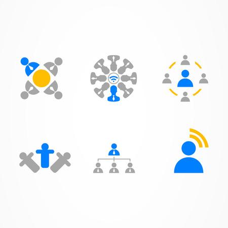 collaboration: Business Icon signal man web set