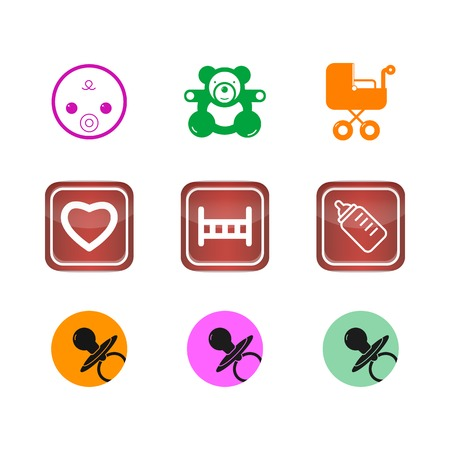 children & baby Icons buttons set Vector