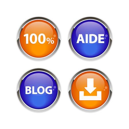 Button icon set 3D web Ilustração