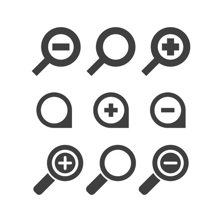 pretend: Vector magnifier glass and zoom Icons search lupe