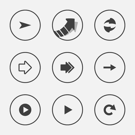 Arrow icon set pointer vector illustration internet web button design Vector