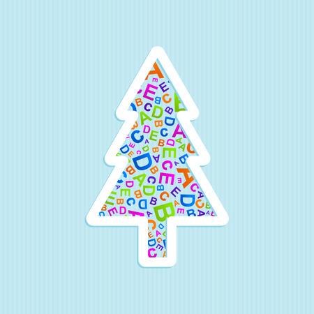 Vector Christmas tree ABC logo icon