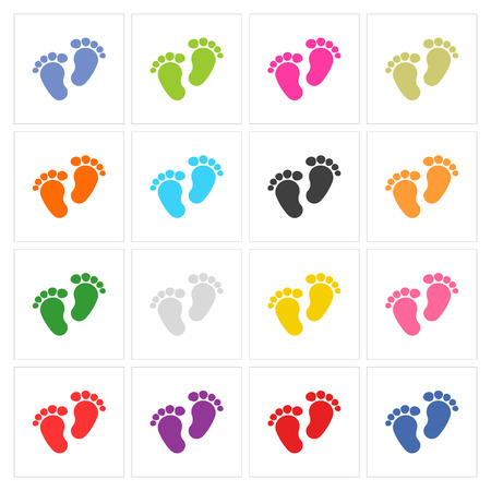Baby footprints traces vector sign button