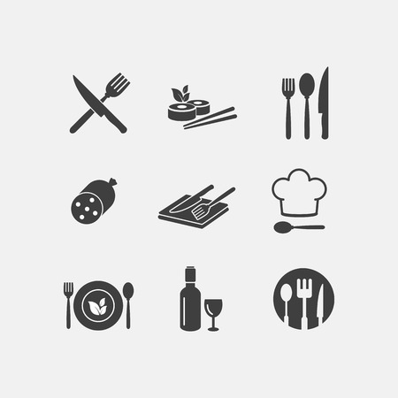 Vector restaurant food icon cuisine Иллюстрация