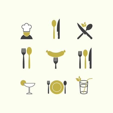 logos restaurantes: Restaurante Vector cocina men� del icono de los alimentos