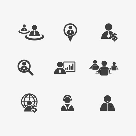 Human resources and management icons set business