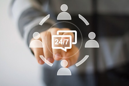 business service: Business button icon web 24 hours cloud service Stock Photo