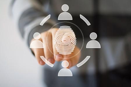 Businessman pressing modern technology panel fingerprint print Banque d'images