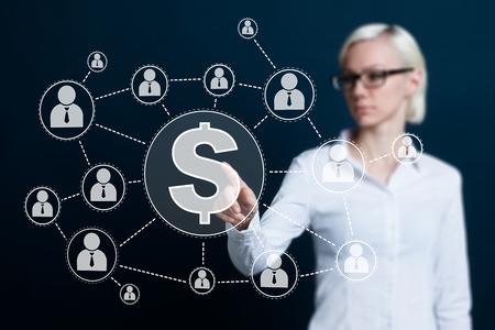 simbolo uomo donna: Donna d'affari che spinge il tasto di dollari