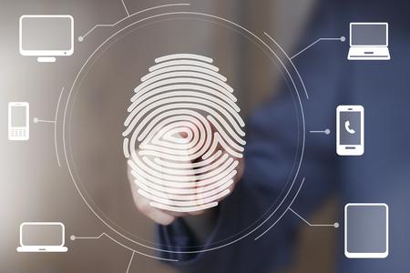 computer button: Businessman push button fingerprint print computer