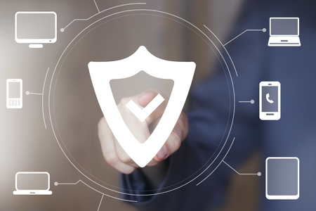 Button shield security web computer business virus Stock Photo