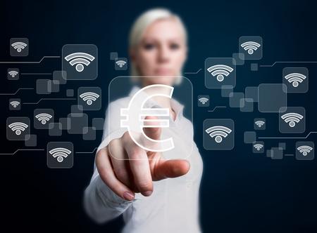 Social network Wifi business button Eur