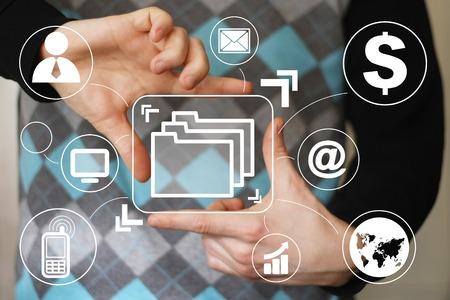 Business button web file virtual Banque d'images
