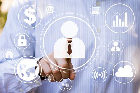 Businessman touch button interface business