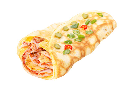 Elegant, neat,hearty crepe stuffed with roasted ham and cheese decorated with vegetable slices isolated on white shadowless