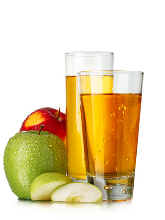 highball: Fresh apple juices in highball glasses with red and green apples