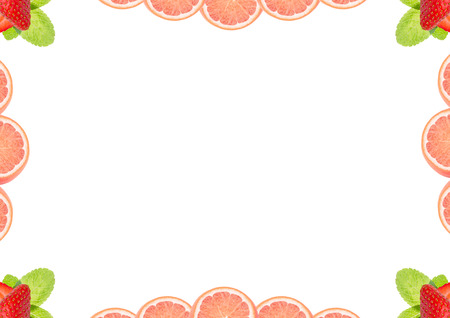 imposition: Fruit and berries background, may be used as frame in your spread layout design