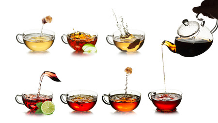 oolong tea: Tea time concept. Different kinds of black, green, herbal and oolong tea in transparent cups. Tea with fresh, clean look. Tea splashes. Tea pouring.