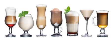 Collection of delicious coffee and coffee cocktails int transparent glasses. Irish coffee