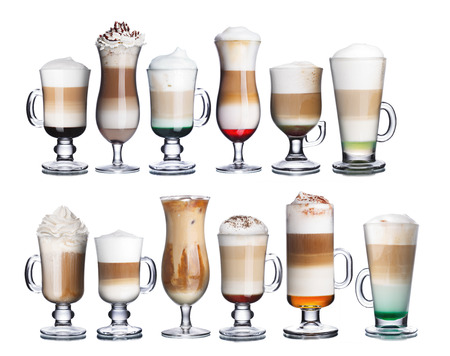 capuchino: Collection of delicious coffee and coffee cocktails int transparent glasses. Irish coffee