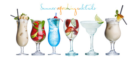 pina colada: Collection of widely known refreshing summer alcoholic cocktails: pina colada,daiquiri,mojito and blue lagoon Stock Photo