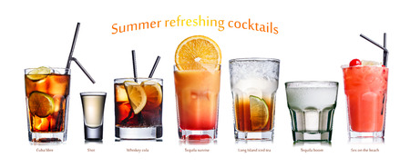 Collection of widely known refreshing summer alcoholic cocktails. Zdjęcie Seryjne
