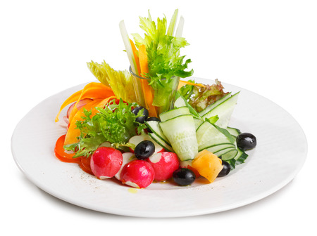 carot: Vegetable platter. Variety of elegant sliced fresh vegetables