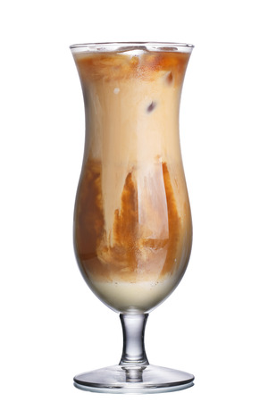 capuchino: Glass of thai iced coffee with skimmed milk Stock Photo