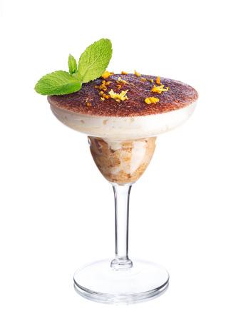 american dessert: Layered dessert in a glass. American parfait. Sweet food.