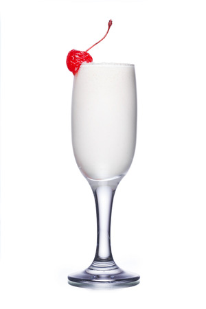 orgasm: Orgasm alcoholic cocktail in flute glass (champagne) decorated with red cherry