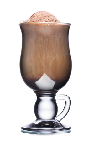 ice cream glass: Glass of coffee cocktail with chocolate and ice cream